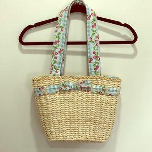Laura Ashley Vintage Style Straw Tote Bag